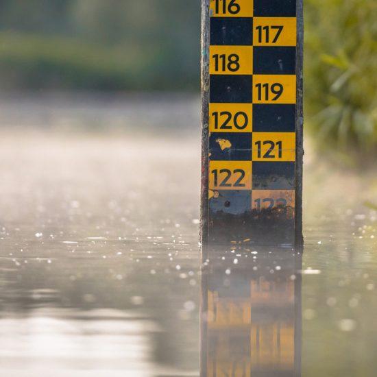 vattennivå djupmätare i floden Biesbosch naturreservat Nederländerna